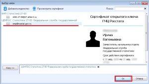 Сертификат электронного ключа Росстат