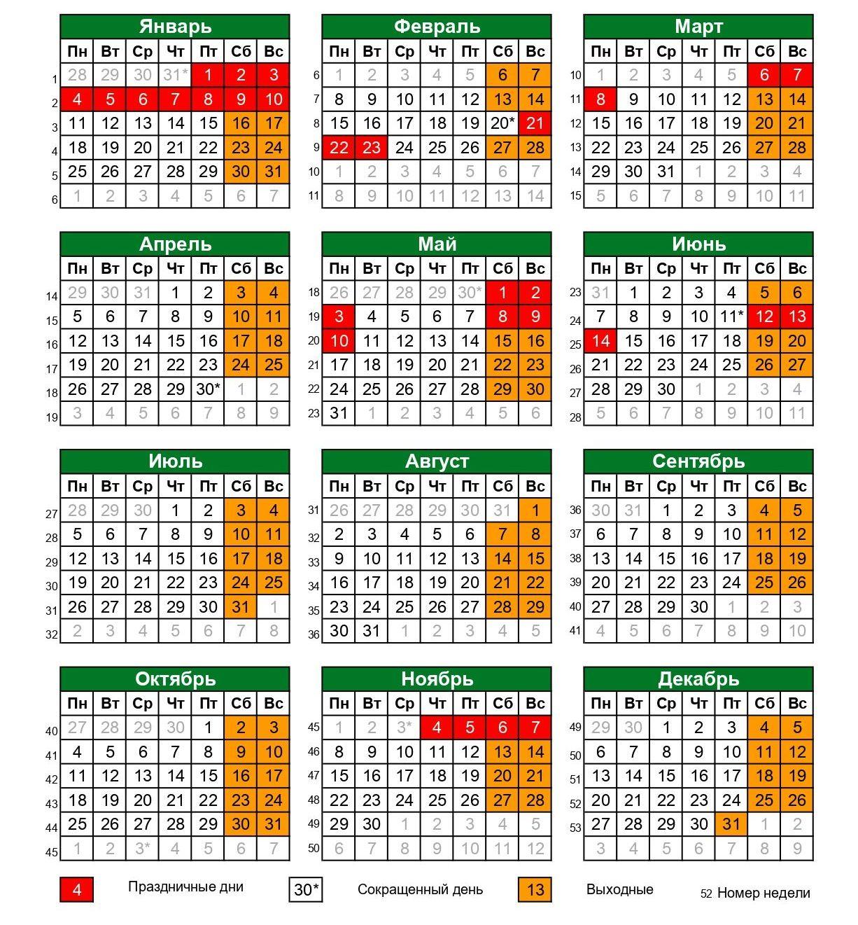 Выходные и праздничные дни в 2021. Производственный календарь